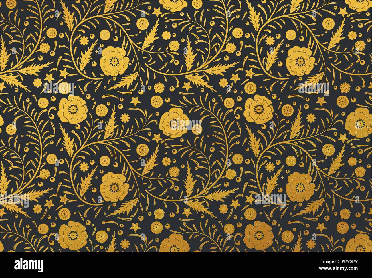 Vector Seamless floral pattern design hand drawn: Perfect Golden poppies with vintage leaves on a black background - Stock Vector