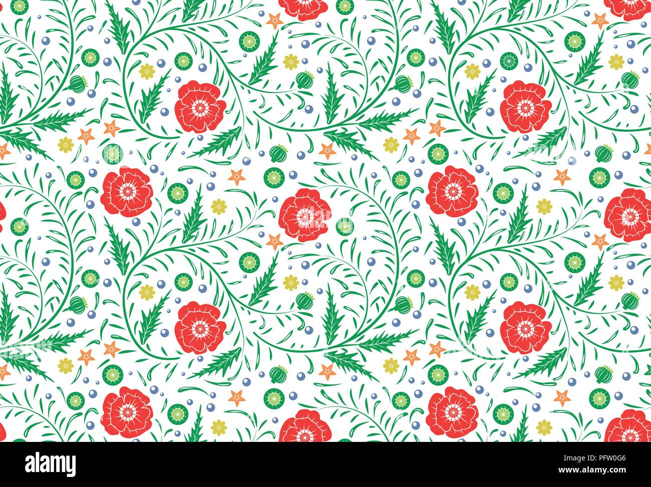 Vector Seamless floral pattern design hand drawn: garden white, red poppies with green leaves. Perfect background - Stock Vector