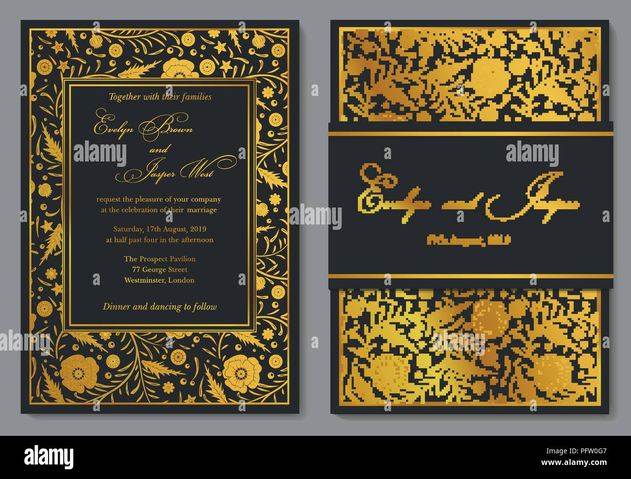 Wedding Invitation Floral Invite Card Design With Golden Foil