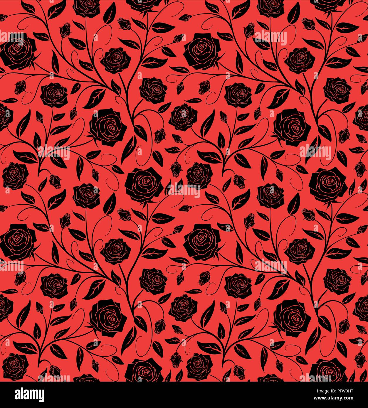 Vector Seamless Floral Pattern Design Hand Drawn Black Roses With