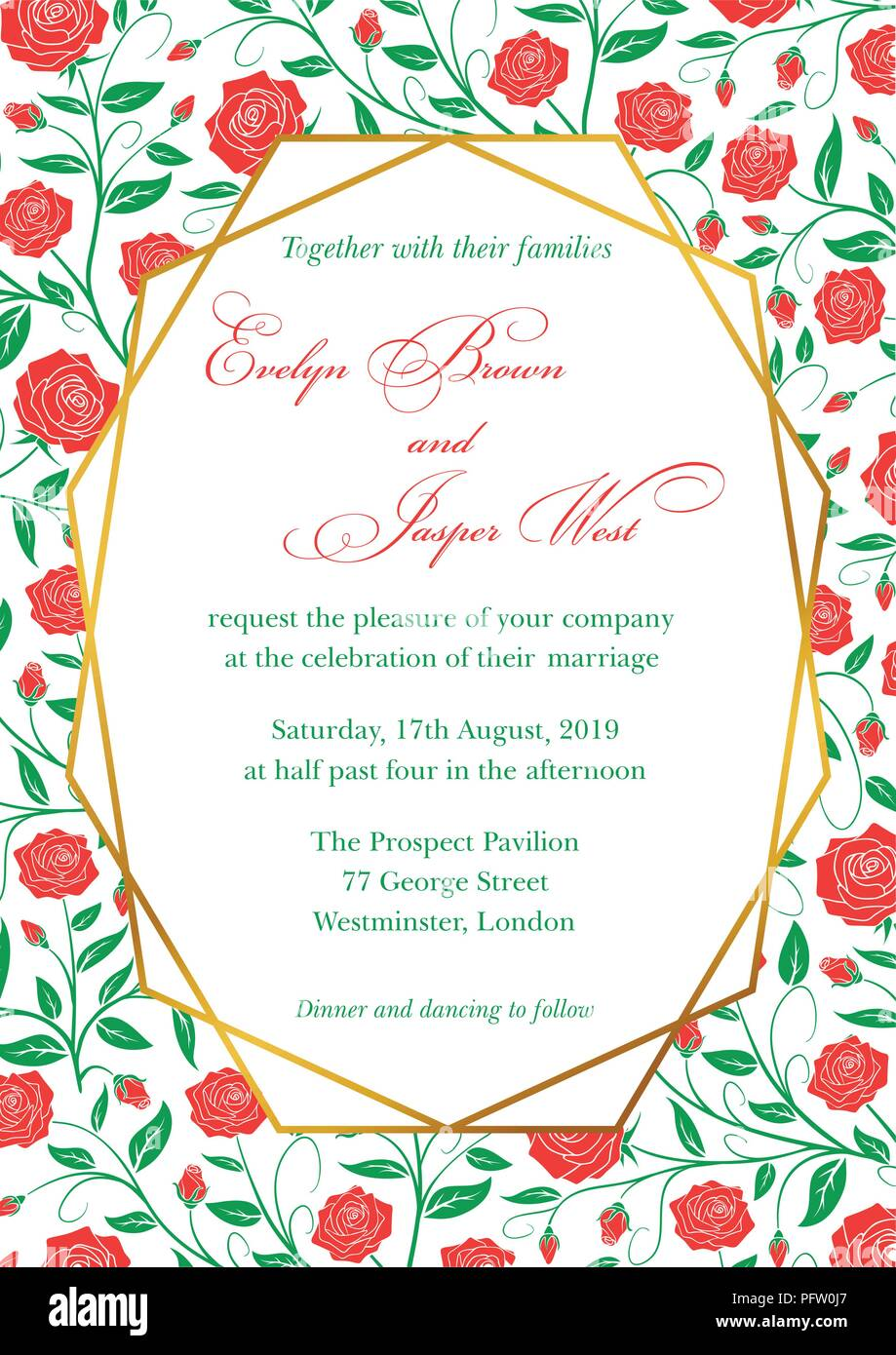 Wedding Invitation Red Roses Floral Invite Card Design With
