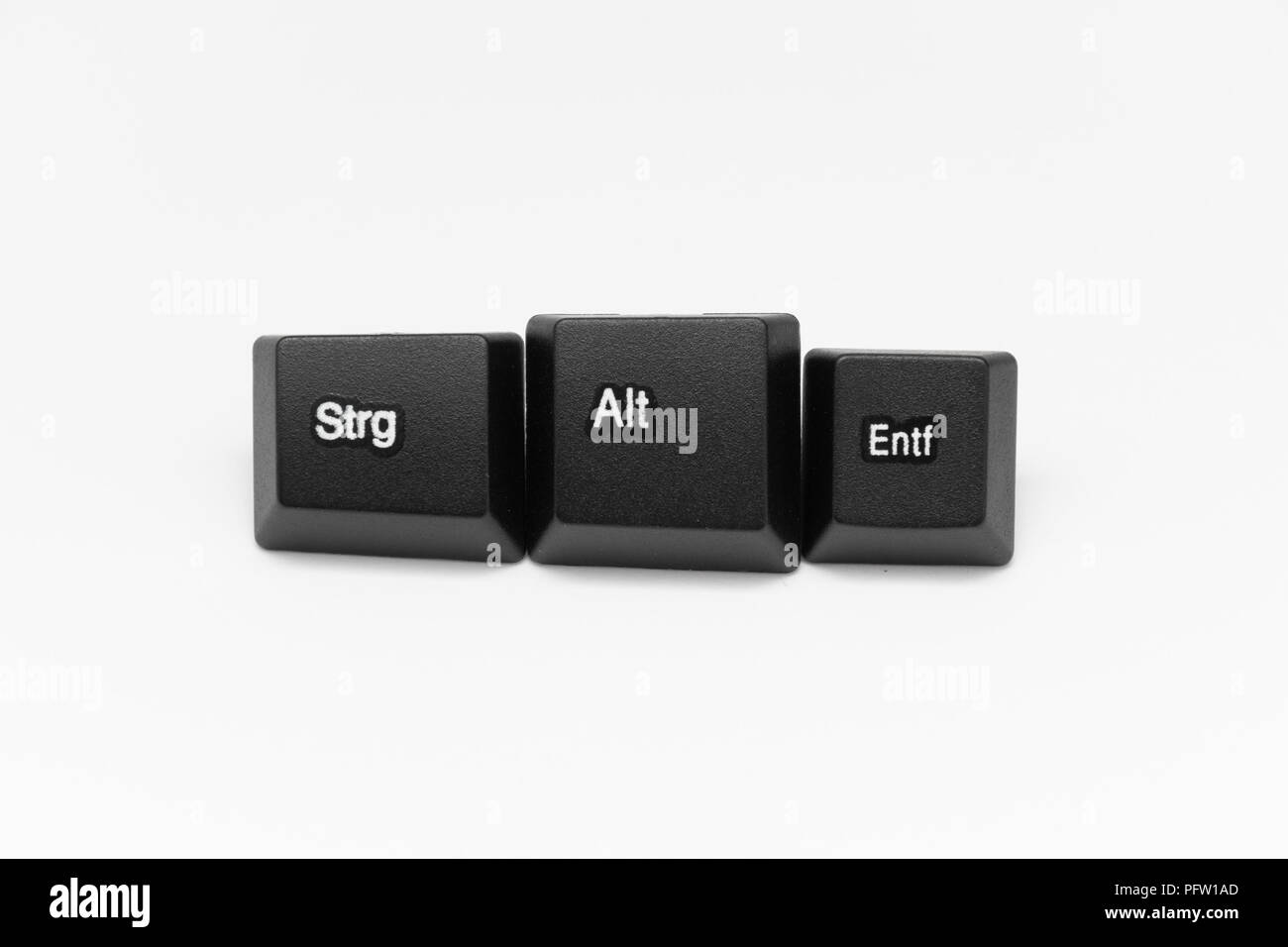 black keys of keyboard with different years words or names - Stock Image