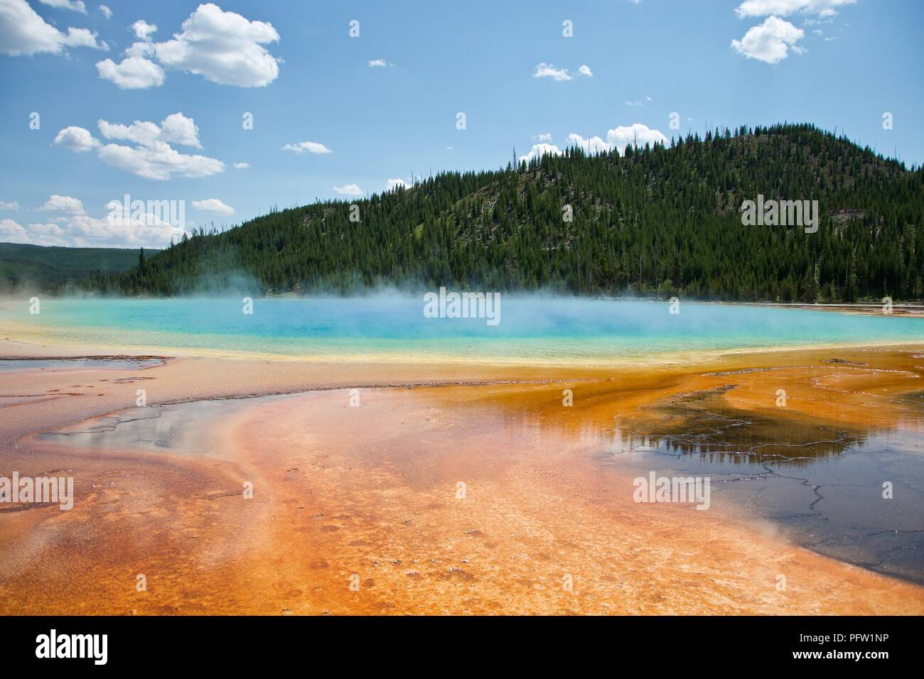 Grand Prismatic Hot Spring at Yellowstone National Park - Stock Image