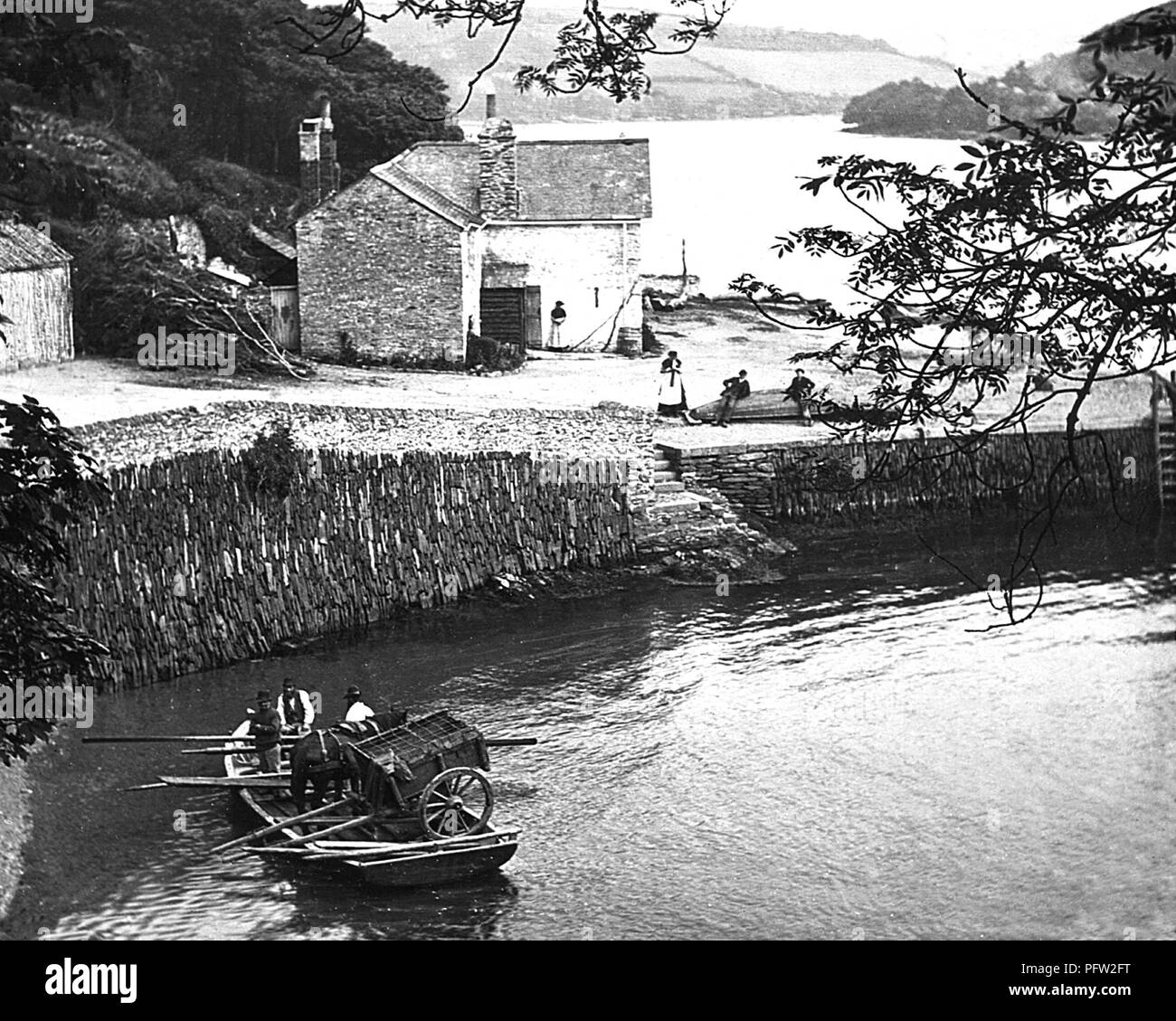 King Harry's Ferry, Cornwall, Victorian period - Stock Image