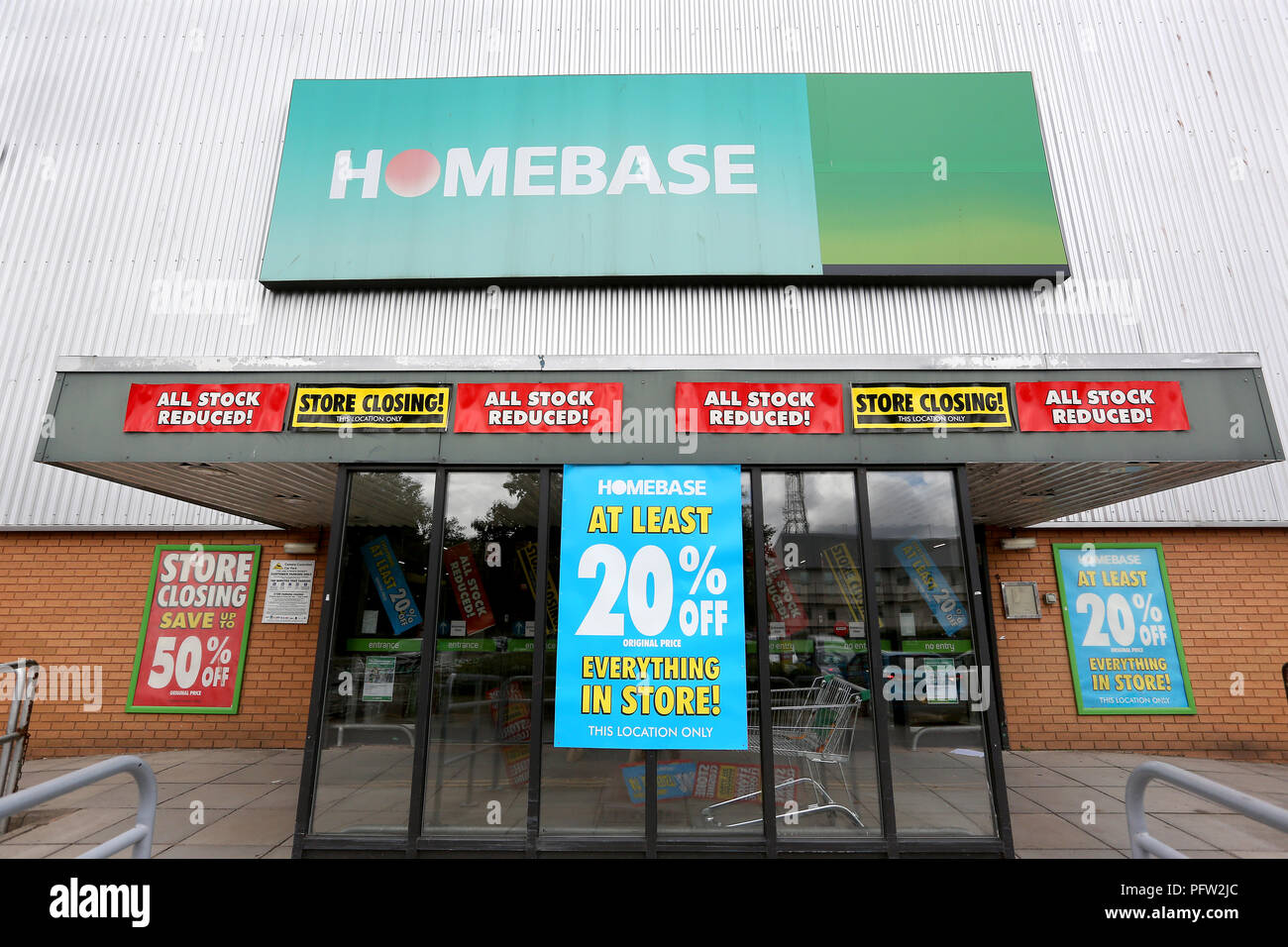 General view of a Homebase store in Exeter which is closing down. Homebase is a DIY/ Garden Centre and was bought by the Austrailian conglomerate Wesf Stock Photo