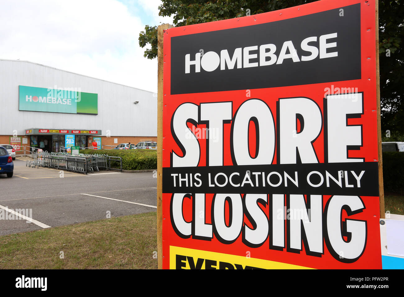 General view of a Homebase store in Exeter which is closing down. Homebase is a DIY/ Garden Centre and was bought by the Austrailian conglomerate Wesf - Stock Image