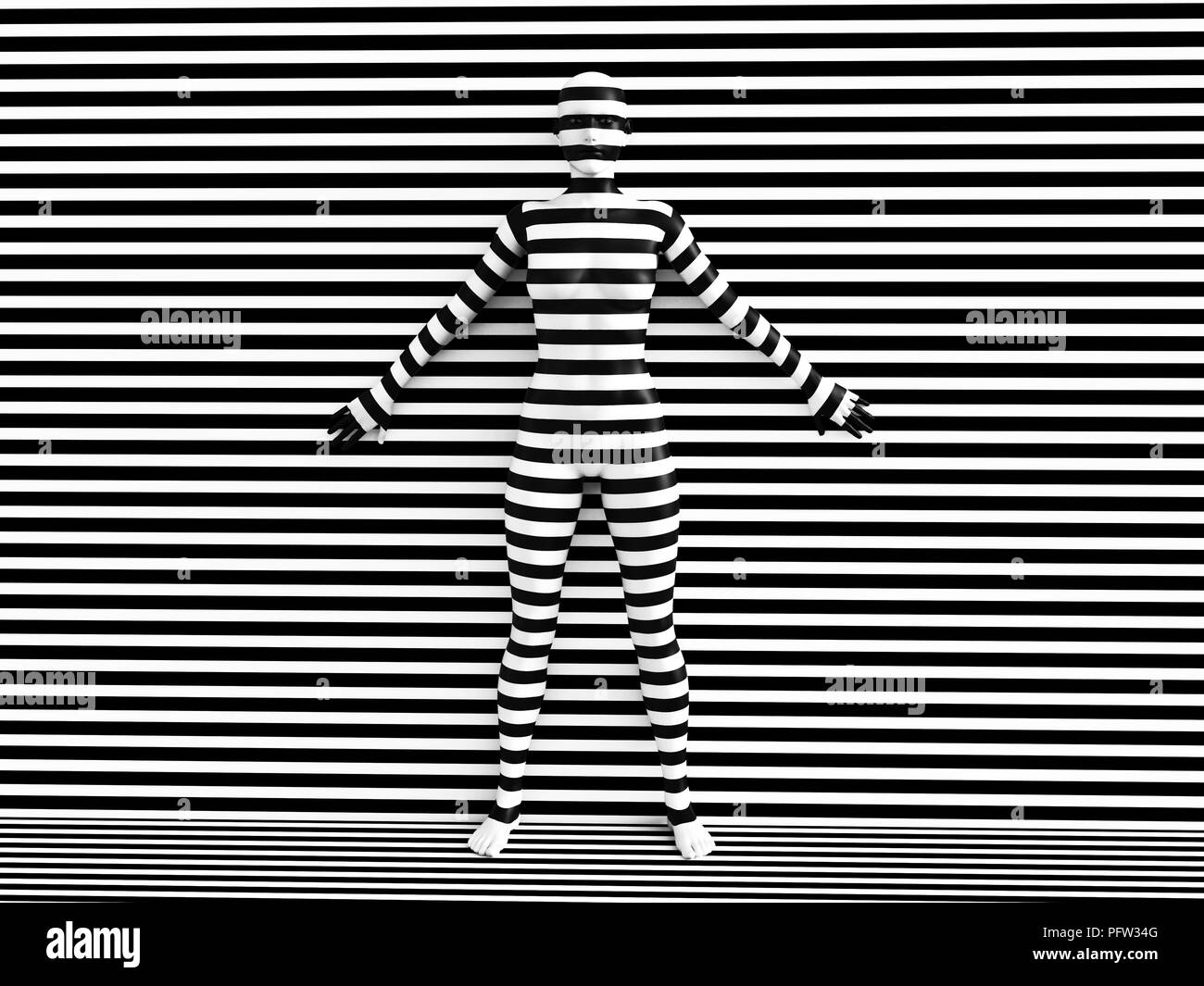 3D rendering of a woman trying to blend in with the black and white striped background, afraid to show her true colours. She is standing with her back Stock Photo