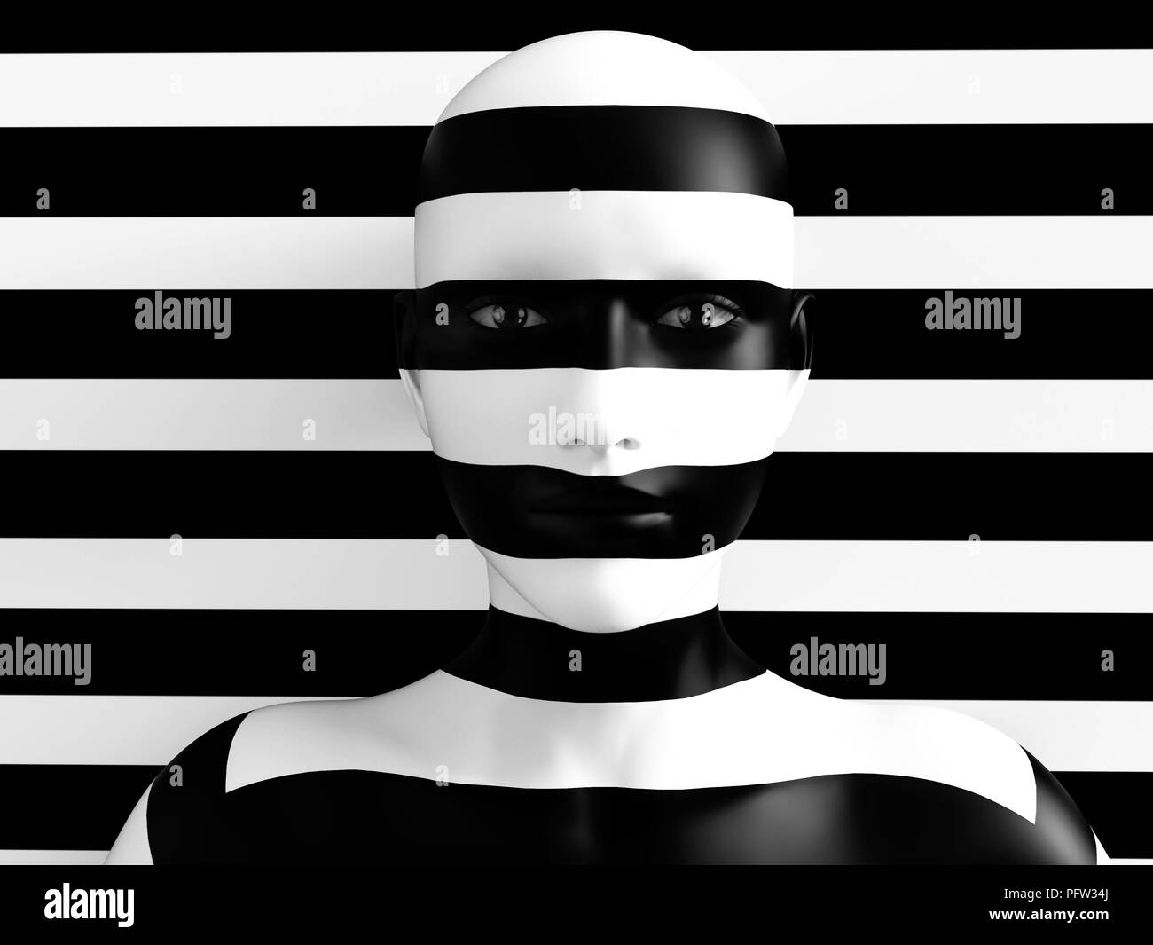 3D rendering of a womans face trying to blend in with the black and white striped background, afraid to show her true colours. She is standing with he Stock Photo