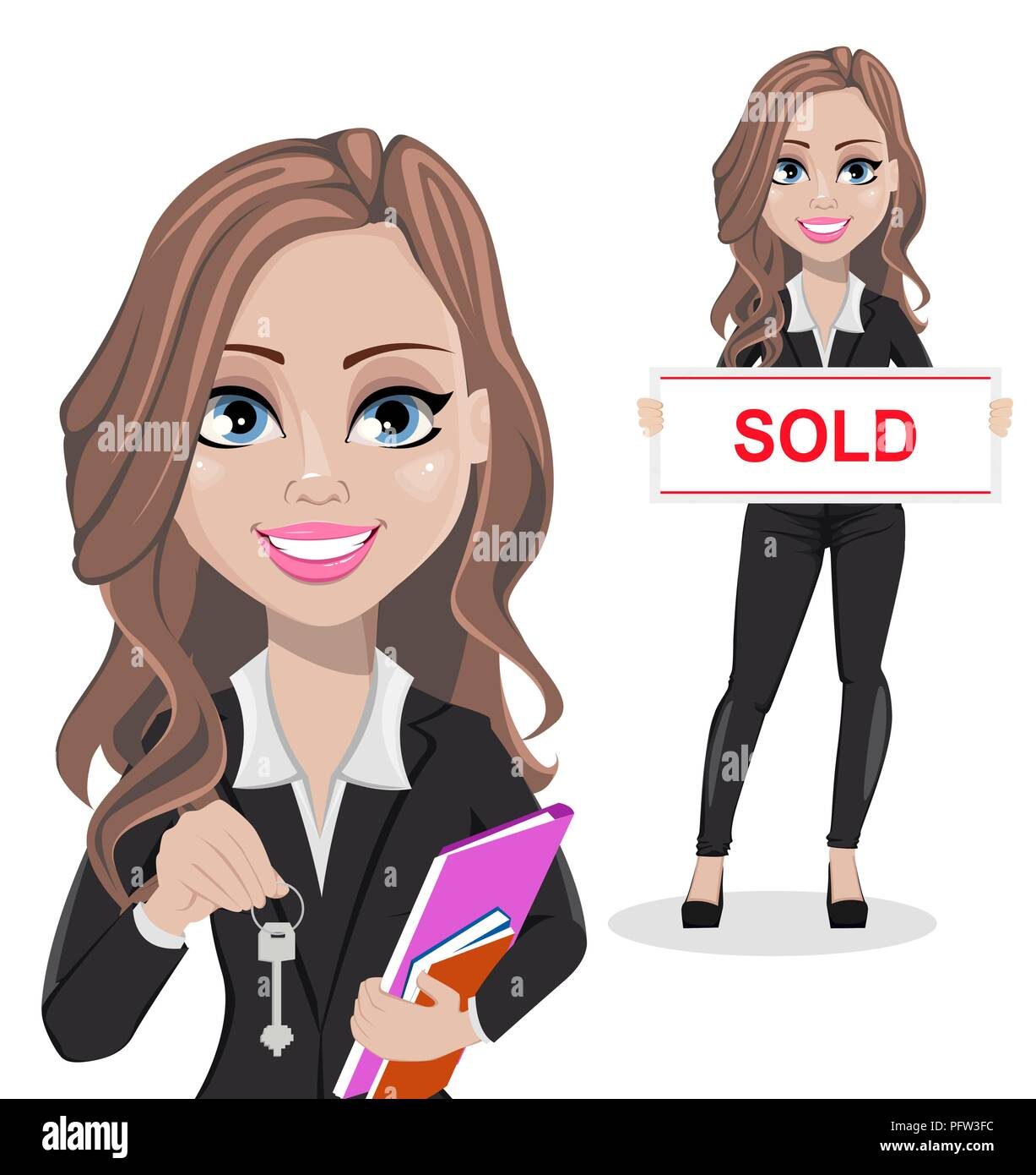 A Real Estate Agent Cartoon Character Set Of Two Poses Beautiful Realtor Woman Holding Key And Holding Banner With Text Sold Cute Business Woman V Stock Vector Image Art Alamy