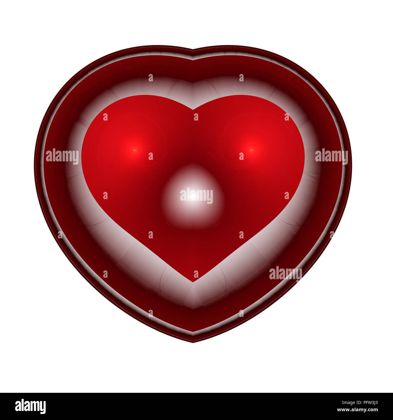 Burning and beating heart. Valentine's day background. An abstract computer generated modern fractal design on dark background. Abstract fractal color Stock Photo