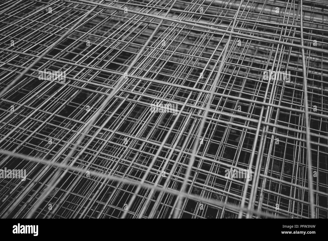Fence made of wire folded from above - Stock Image