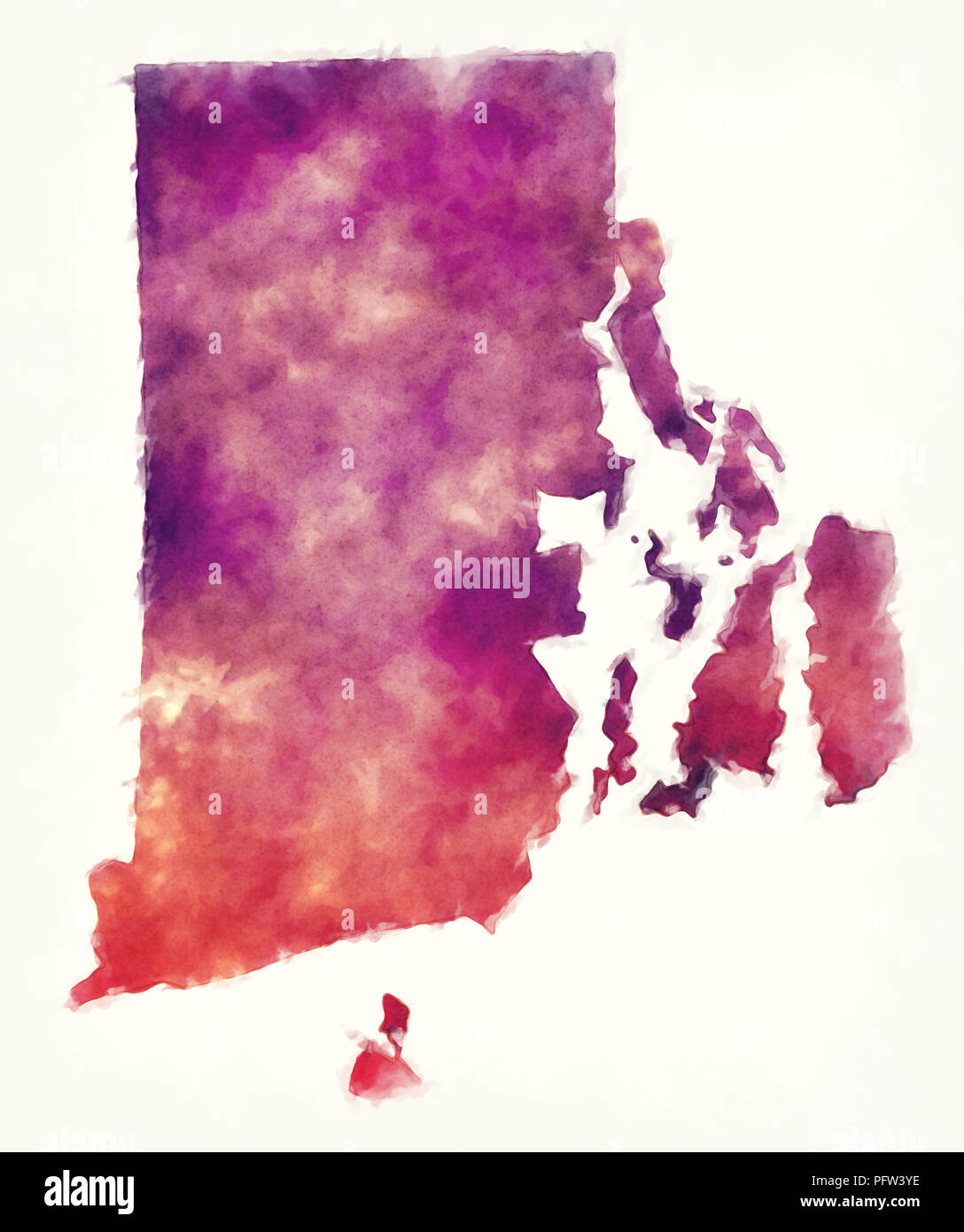 Rhode Island state USA watercolor map in front of a white background ...