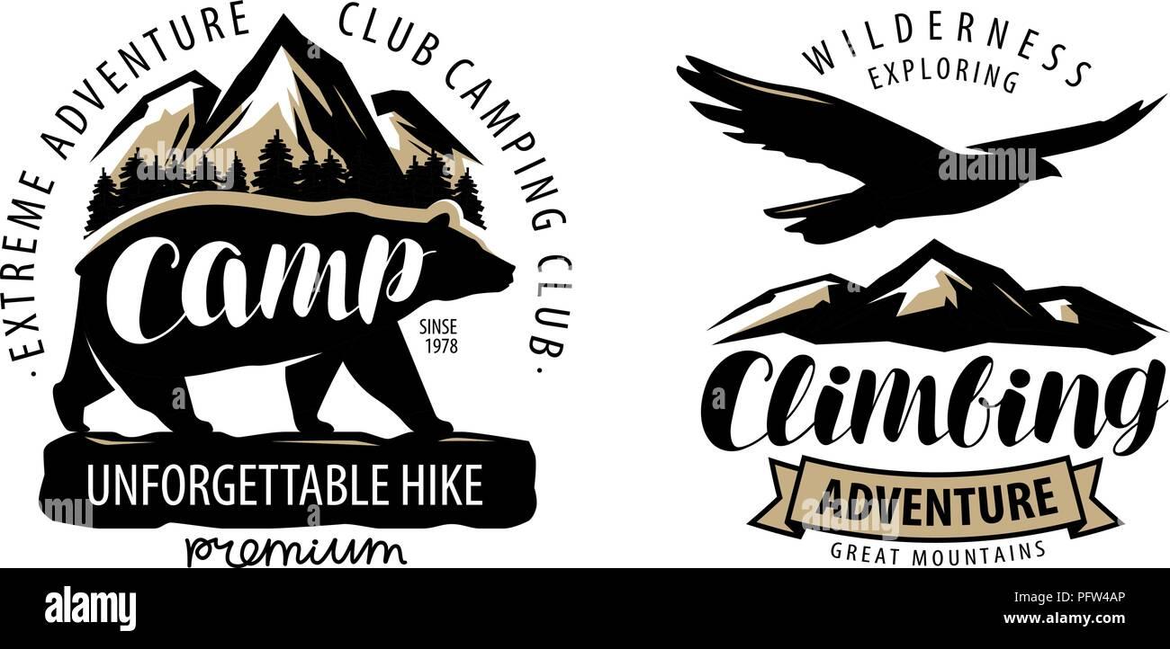 Camping, climbing logo or label. Hike, camp emblem. Vintage vector - Stock Vector