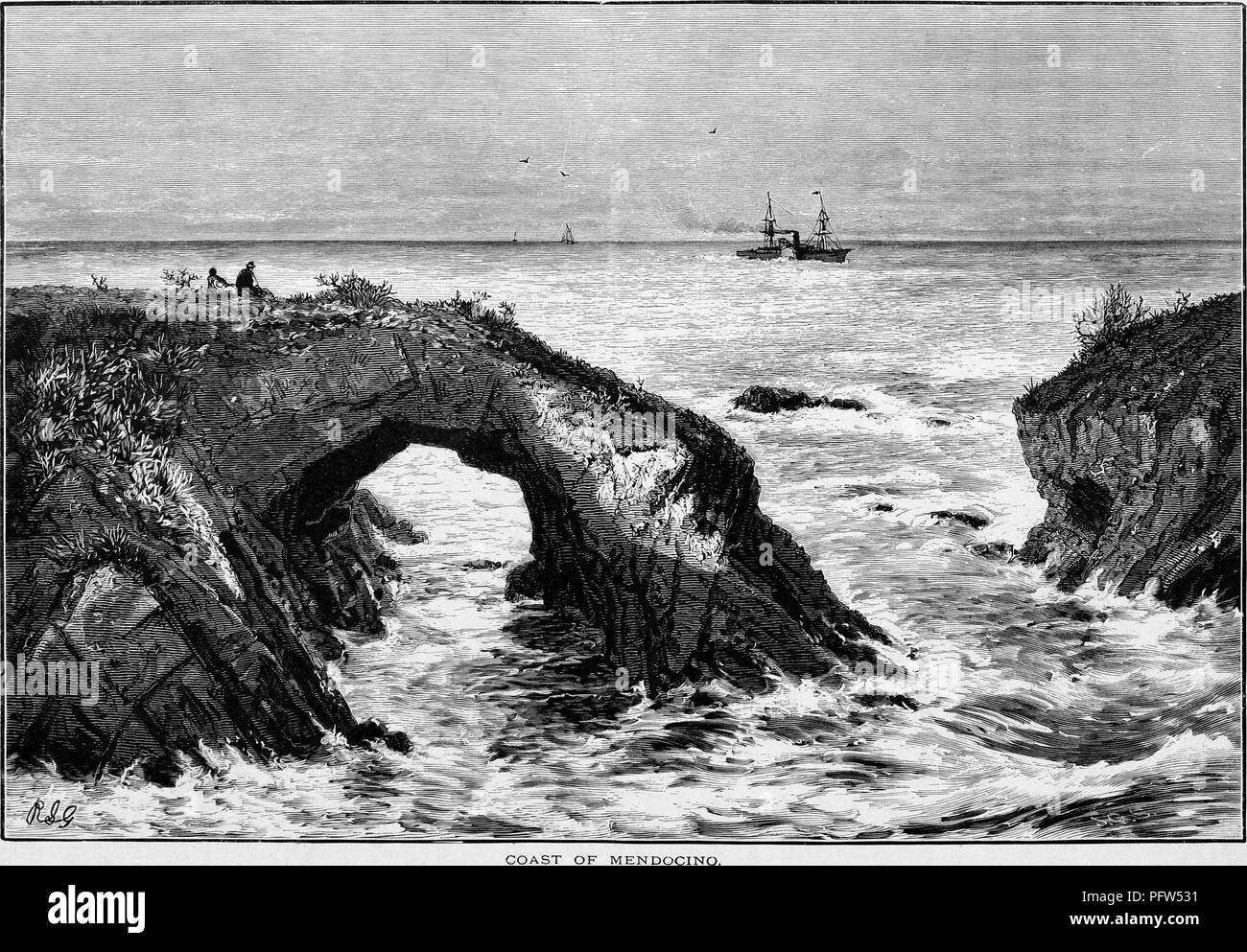 Black and white vintage print depicting a pair of people seated on a naturally arched rock formation, looking toward the ocean, with sailing ships on the horizon, located on the coast of Mendocino, California, published in William Cullen Bryant's edited volume 'Picturesque America; or, The Land We Live In', 1872. Courtesy Internet Archive. () - Stock Image