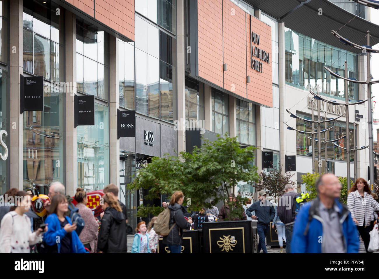 General view of New Cathedral Street in Manchester city centre , England - Stock Image
