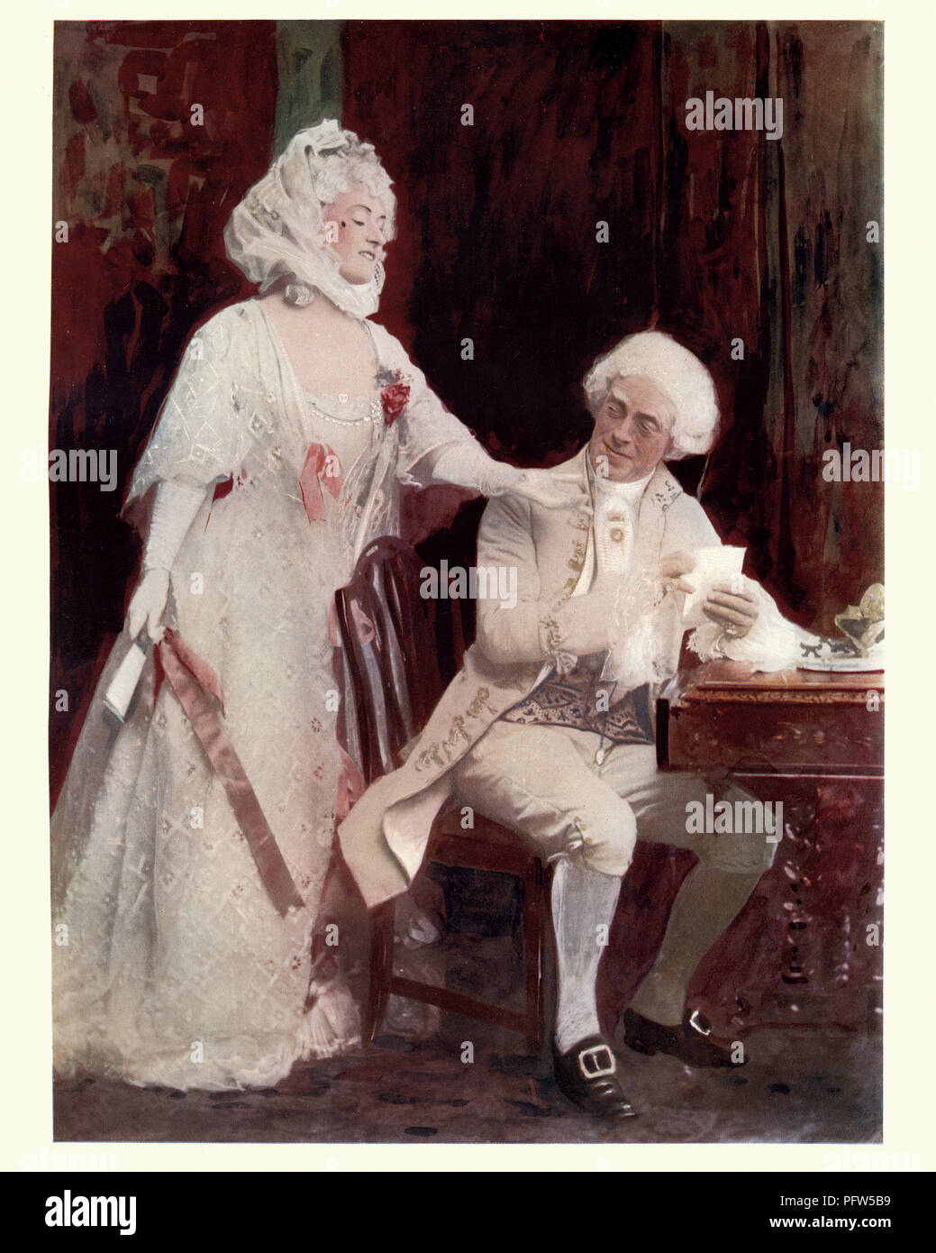 Edwardian actors Winifred Emery and Cyril Maude in the School for Scandal. Winifred Emery (1 August 1861 – 15 July 1924), born Maud Isabel Emery, was  Stock Photo