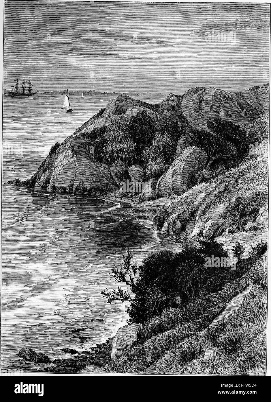 Black and white vintage print depicting a rocky outcropping with several sailing vessels in the distance, located at Brenton Cove, in Newport Rhode Island, published in William Cullen Bryant's edited volume 'Picturesque America; or, The Land We Live In', 1872. Courtesy Internet Archive. () - Stock Image
