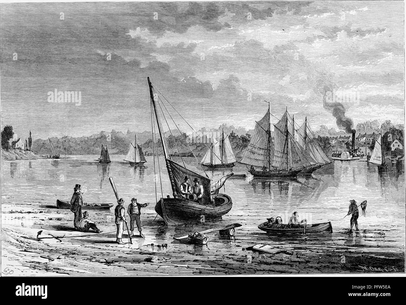 Black and a white vintage print depicting men and sailing vessels on the shore, with more sailboats and the town of Red Bank in the background, located on the Navesink River in New Jersey, published in William Cullen Bryant's edited volume 'Picturesque America; or, The Land We Live In', 1872. Courtesy Internet Archive. () - Stock Image