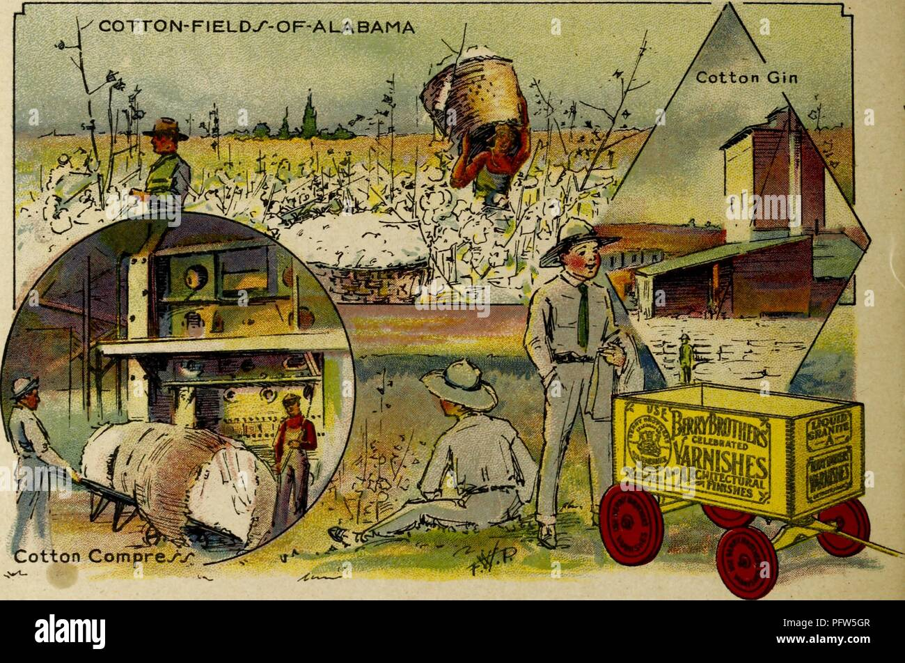 Color illustration depicting several images of Alabama's Cotton Fields, including a 'Cotton Gin' and a 'Cotton Compress, ' along with the eponymous characters, wearing sun hats and sitting and standing near a wagon advertising 'Berry Brothers Varnishes, ' from the children's volume 'Seeing America First: with the Berry Brothers, ' authored by Eleanor Colby, and illustrated by FW Pfeiffer, 1917. Courtesy Internet Archive. () Stock Photo