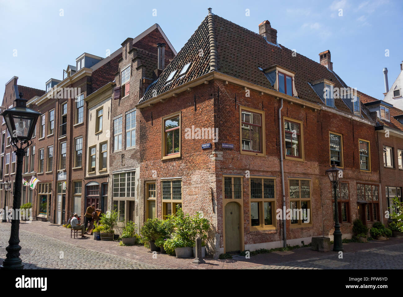 Leiden, Netherlands - July 17, 2018: Leiden American Pilgrim Fathers Museum at the corner of the Beschuitsteeg in Leiden - Stock Image
