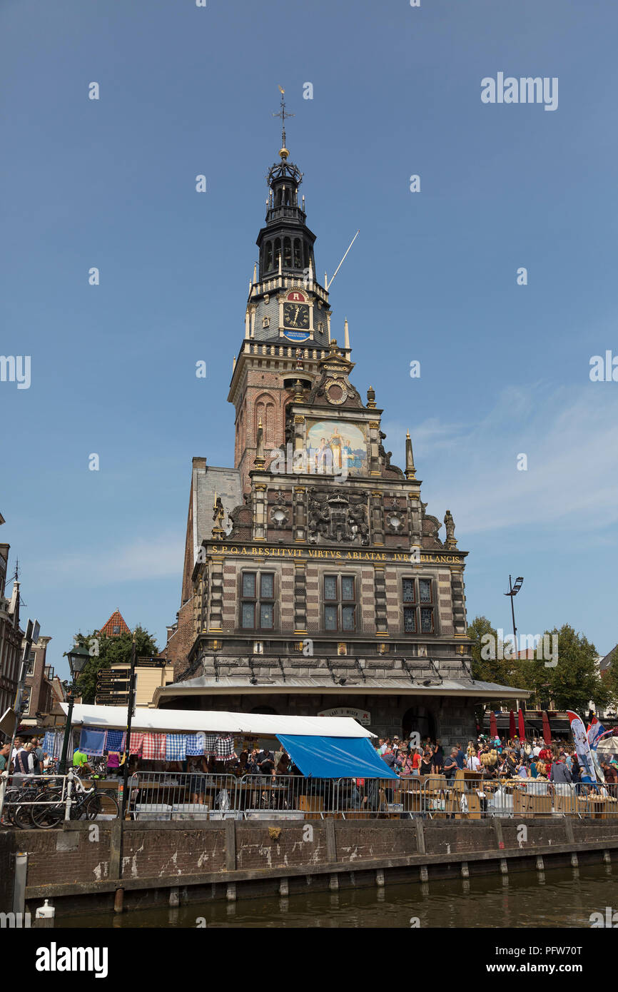 Alkmaar, Netherlands - July 20, 2018: Facade with the tower of the historical Waag building, weighing-house, a historical national monument - Stock Image