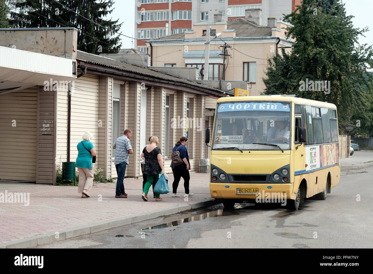 Street scene in the city of Chortkiv which was once home to a large Jewish community and was annihilated, brutally, by the Germans during the Second World War in Ternopil Oblast (province) in western Ukraine. - Stock Image