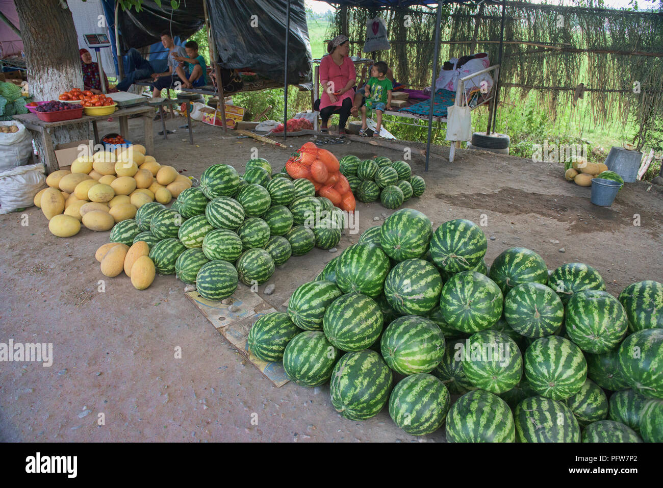 Watermelons for sale by the roadside, Osh, Kyrgyzstan Stock Photo