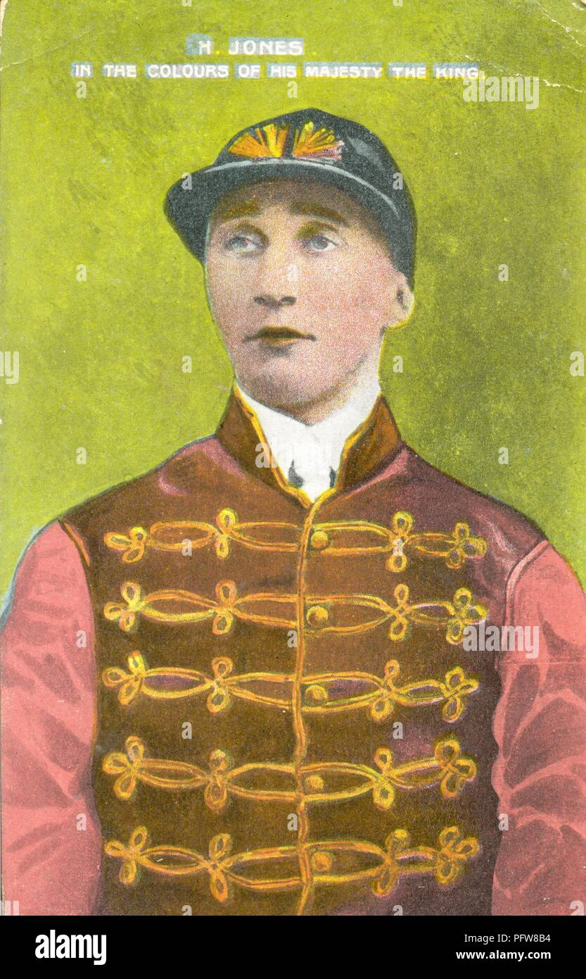 Jockey H Jones in the racing colours of His Majesty the King Stock Photo
