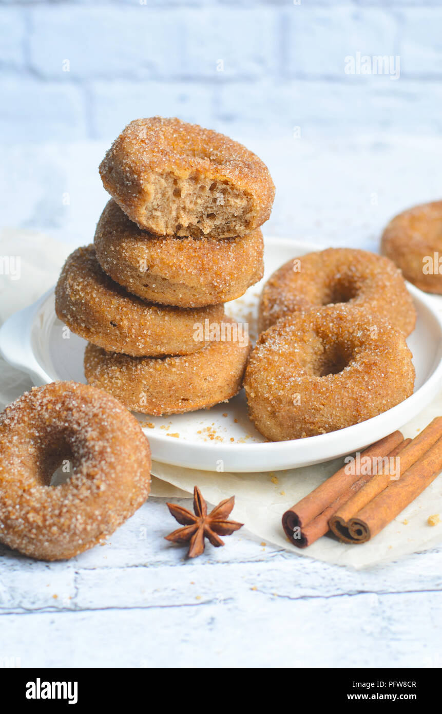 Cinnamon Donuts, Freshly Baked Homemade Doughnuts Covered in Sugar and Cinnamon Mixture