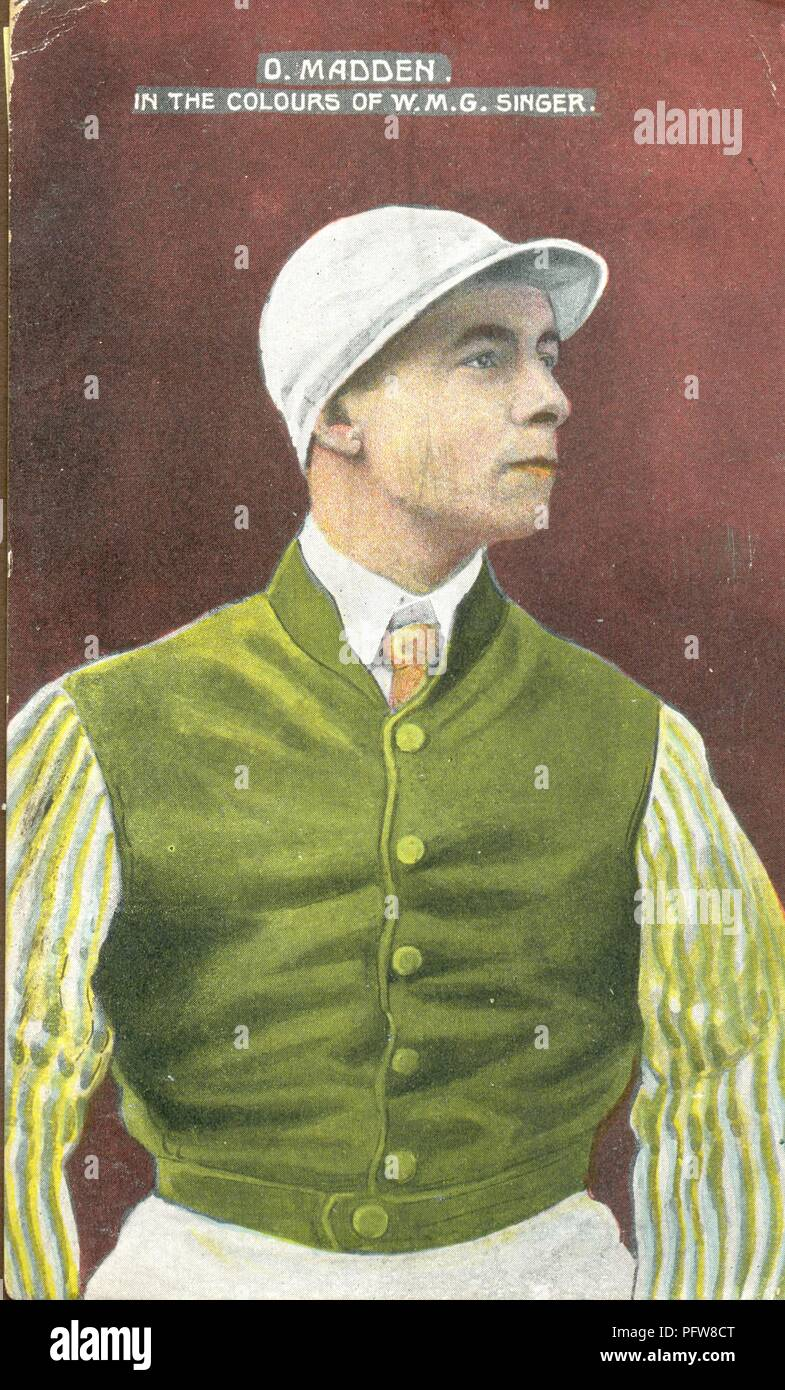 Portrait of jockey D Otto Madden  1873-1942 in the colours of W M G Singer Stock Photo