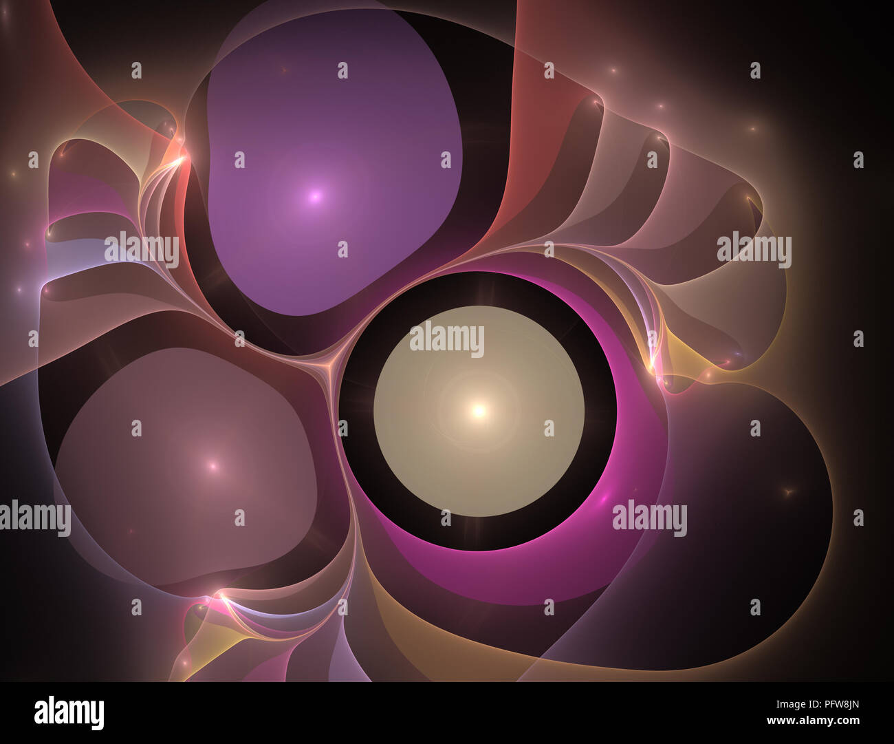 Elementary Particles series. Interplay of abstract fractal forms on the subject of nuclear physics. The collision of elementary particles. Interaction Stock Photo