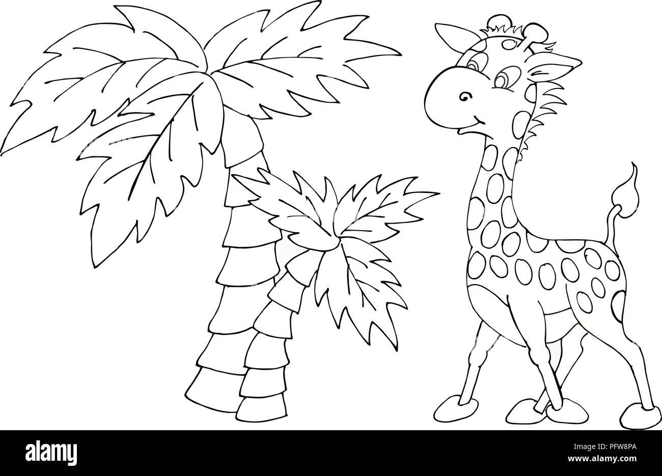 Vector Illustration Wild Animals Cartoons Black And White Stock
