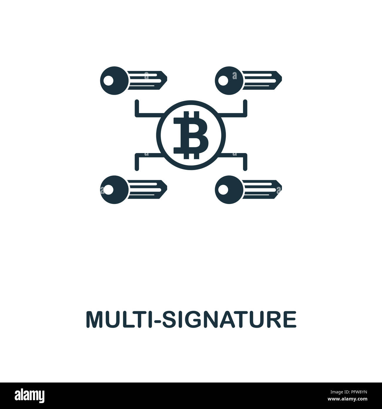 Multi-Signature icon. Monochrome style design from crypto currency collection. UI. Pixel perfect simple pictogram multi-signature icon. Web design, ap - Stock Image