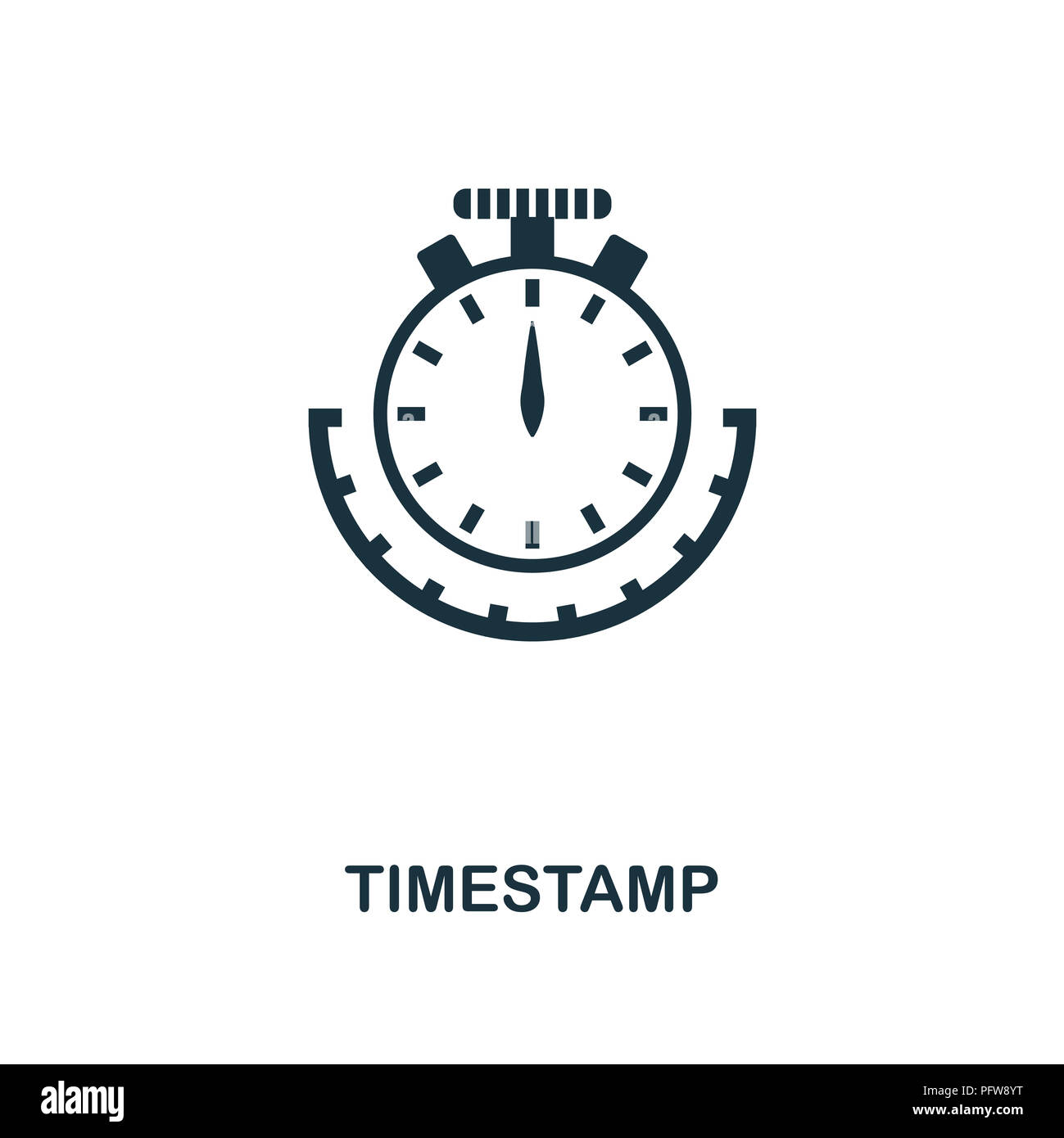Timestamp icon. Monochrome style design from crypto currency collection. UI. Pixel perfect simple pictogram timestamp icon. Web design, apps, software - Stock Image