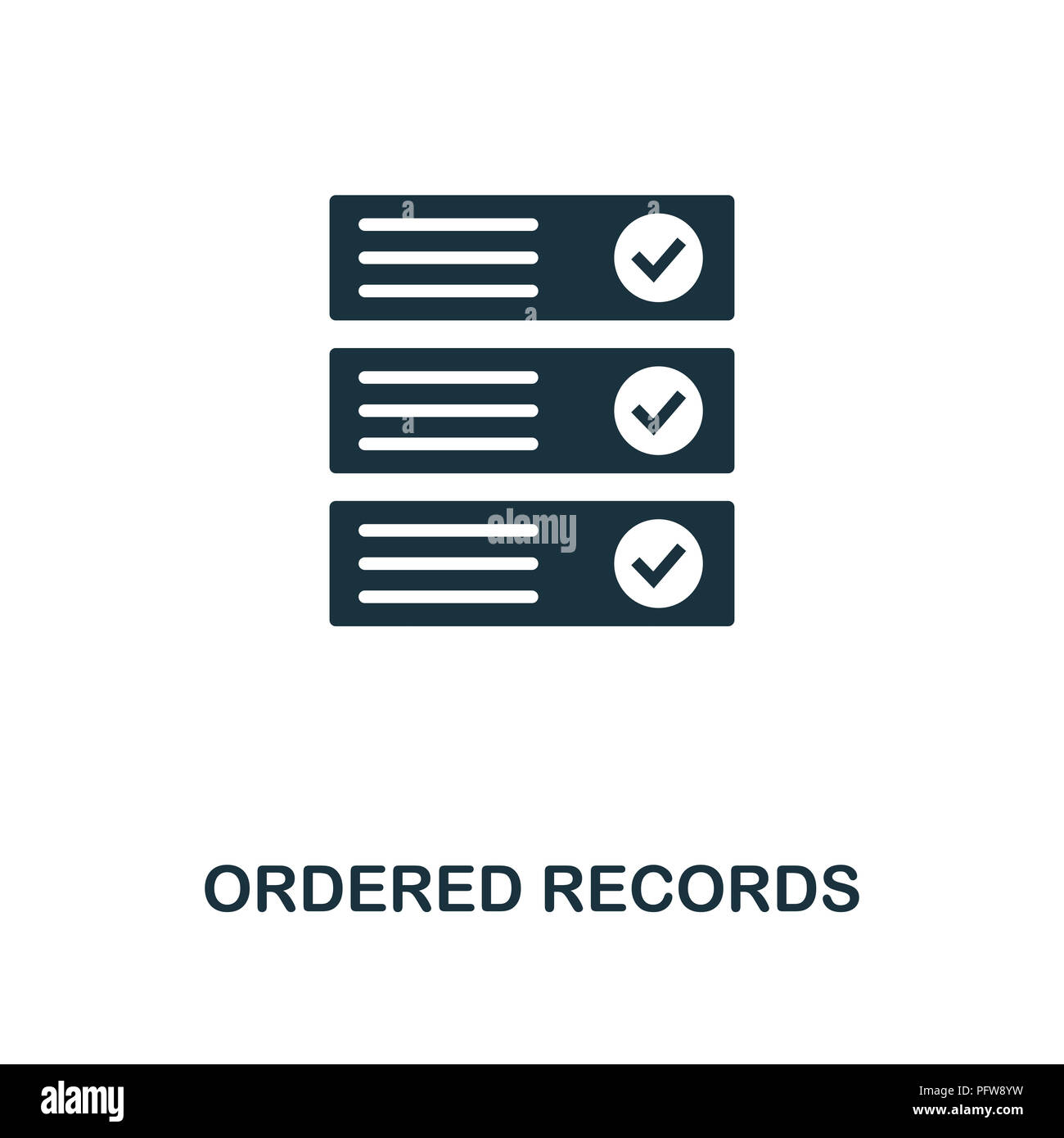 Ordered Records icon. Monochrome style design from crypto currency collection. UI. Pixel perfect simple pictogram ordered records icon. Web design, ap - Stock Image