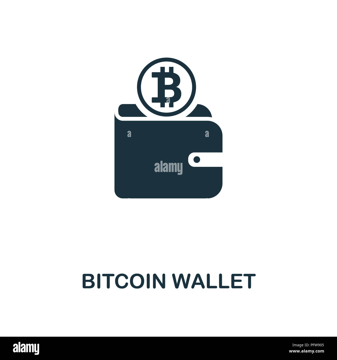 Bitcoin Wallet Icon Monochrome Style Design From Crypto Currency Collection UI Pixel Perfect Simple Pictogram Web Apps