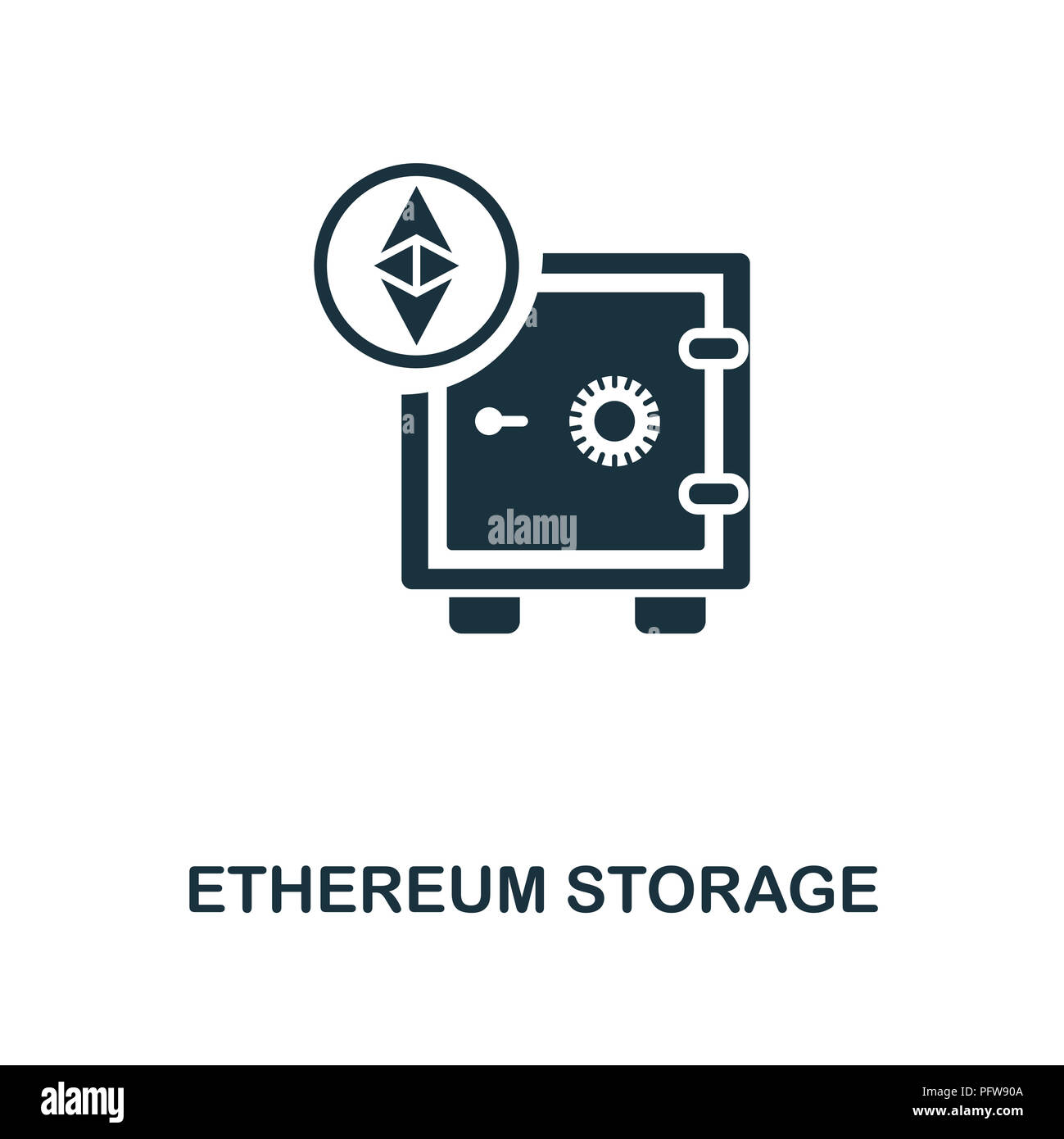 Ethereum Storage icon. Monochrome style design from crypto currency collection. UI. Pixel perfect simple pictogram ethereum storage icon. Web design,  - Stock Image