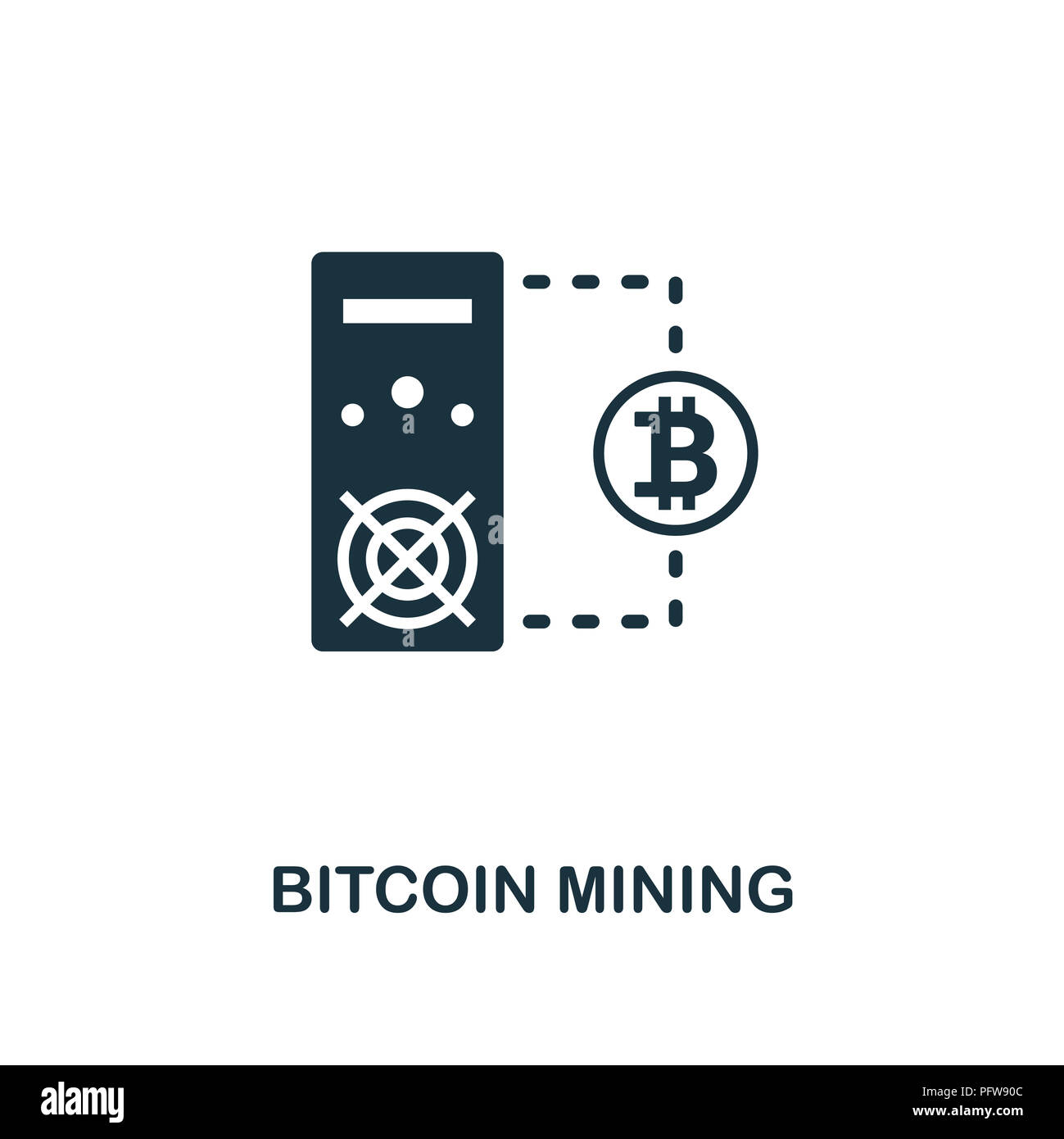Bitcoin Mining icon  Monochrome style design from crypto currency
