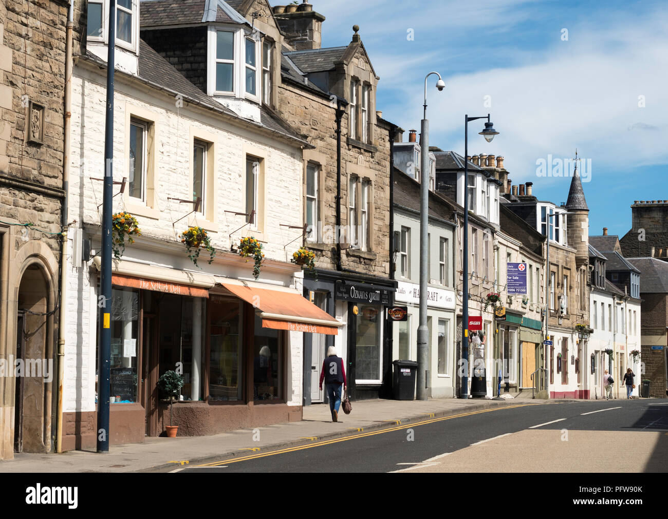 Selkirk High Street, Scottish Borders, Scotland, UK - Stock Image