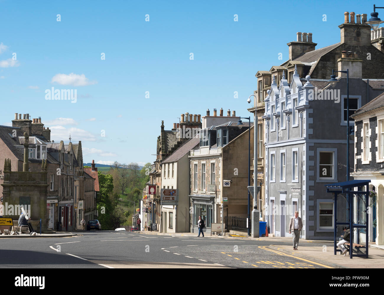 Selkirk town centre, Scottish Borders, Scotland, UK - Stock Image
