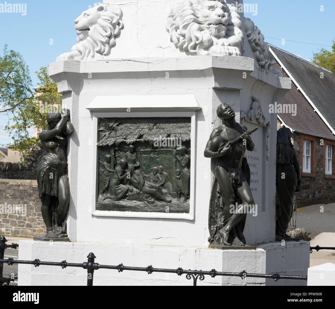Bas relief and bronze sculptures, Mungo Park memorial, Selkirk, Scottish Borders, Scotland, UK - Stock Image