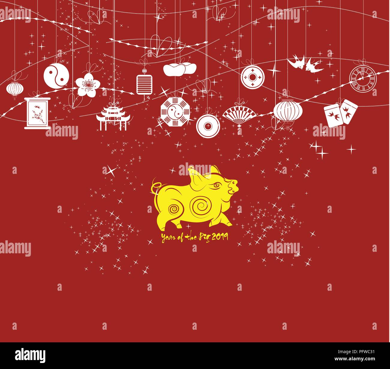 chinese new year background card print year of the pig