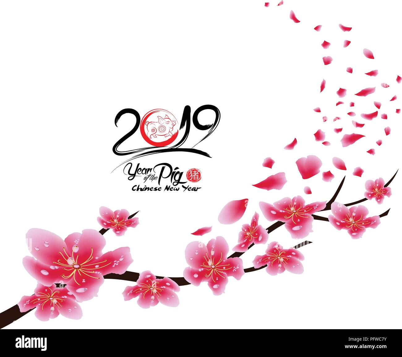 sakura flowers background cherry blossom isolated white background chinese new year hieroglyph pig