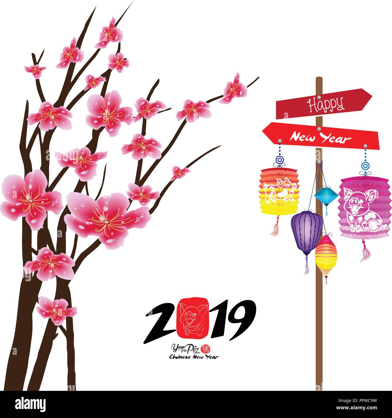 sakura flowers background cherry blossom and lantern isolated white background chinese new year