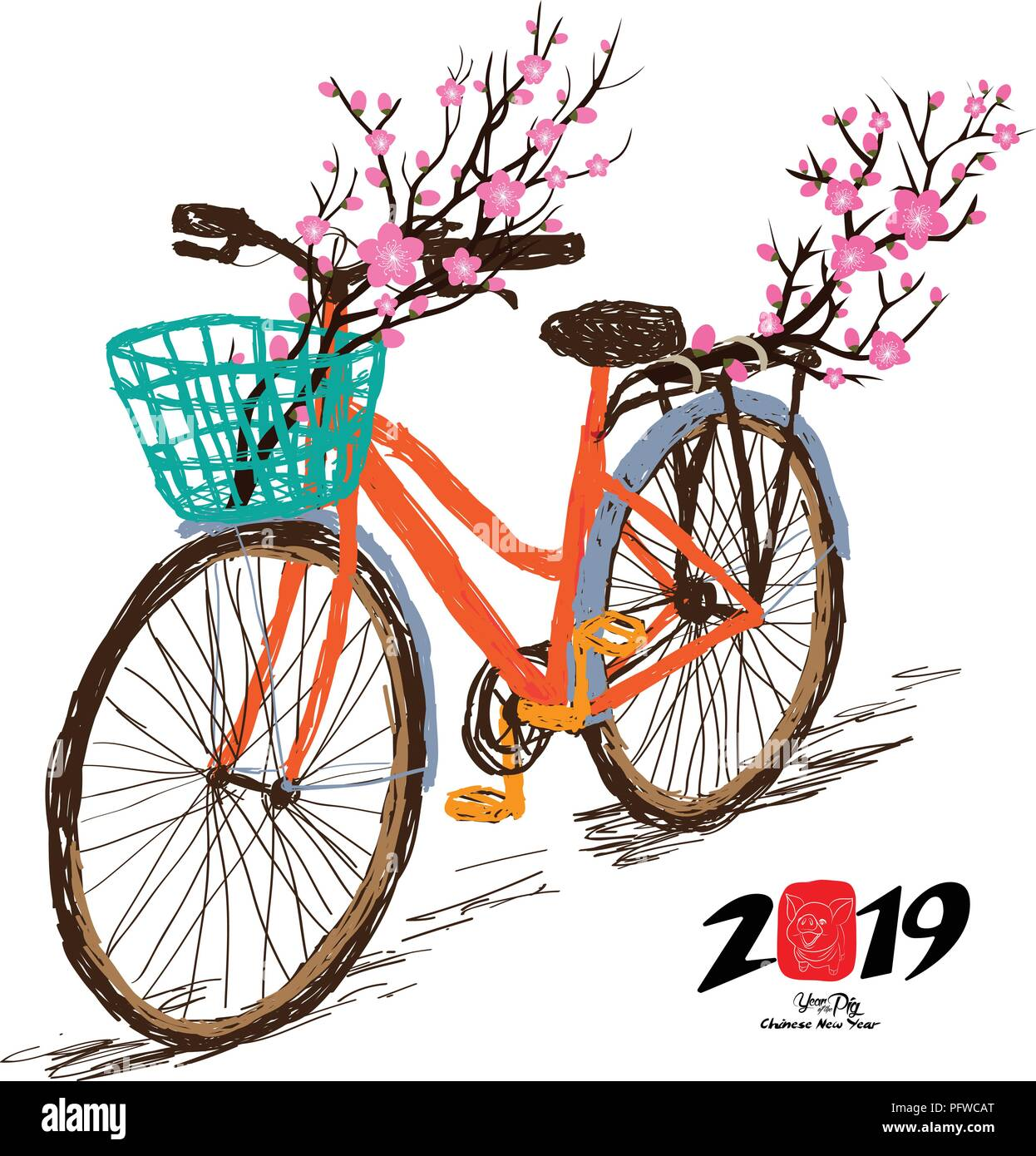 Chinese new year. Hand drawn tintage bicycle with sakura blossom in rear basket. Year of the pig - Stock Vector