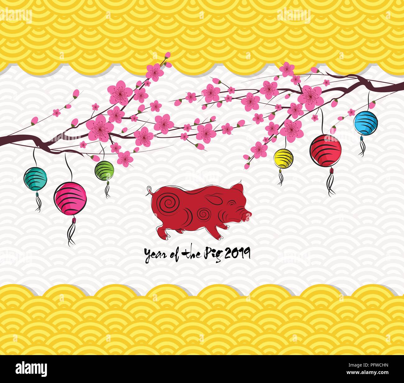chinese new year 2019 lantern pattern background year of the pig