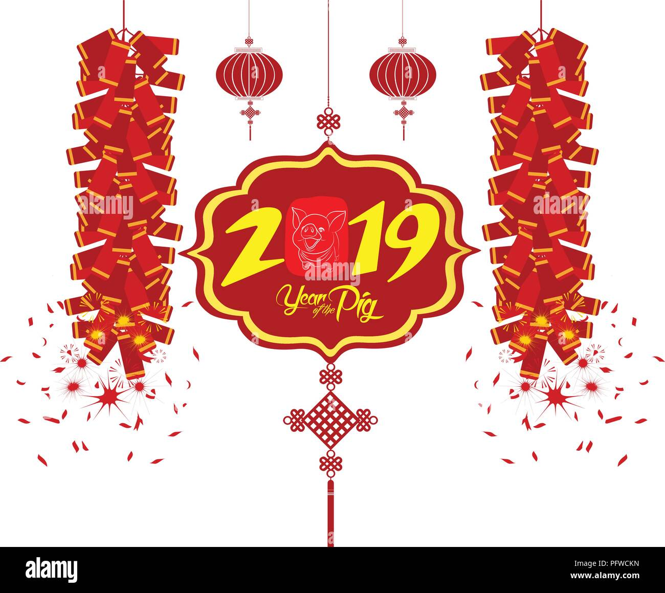 2019 Chinese New Year Greeting Card With White Frame Stock Vector