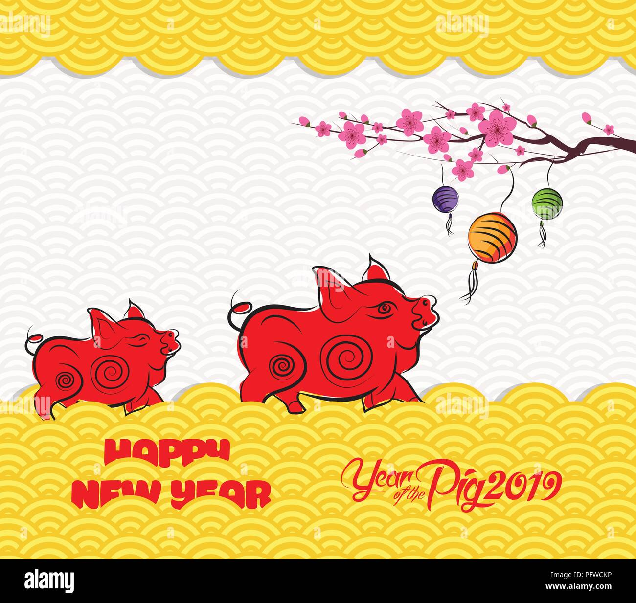 2019 chinese new year greeting card with traditionlal pattern border year of pig