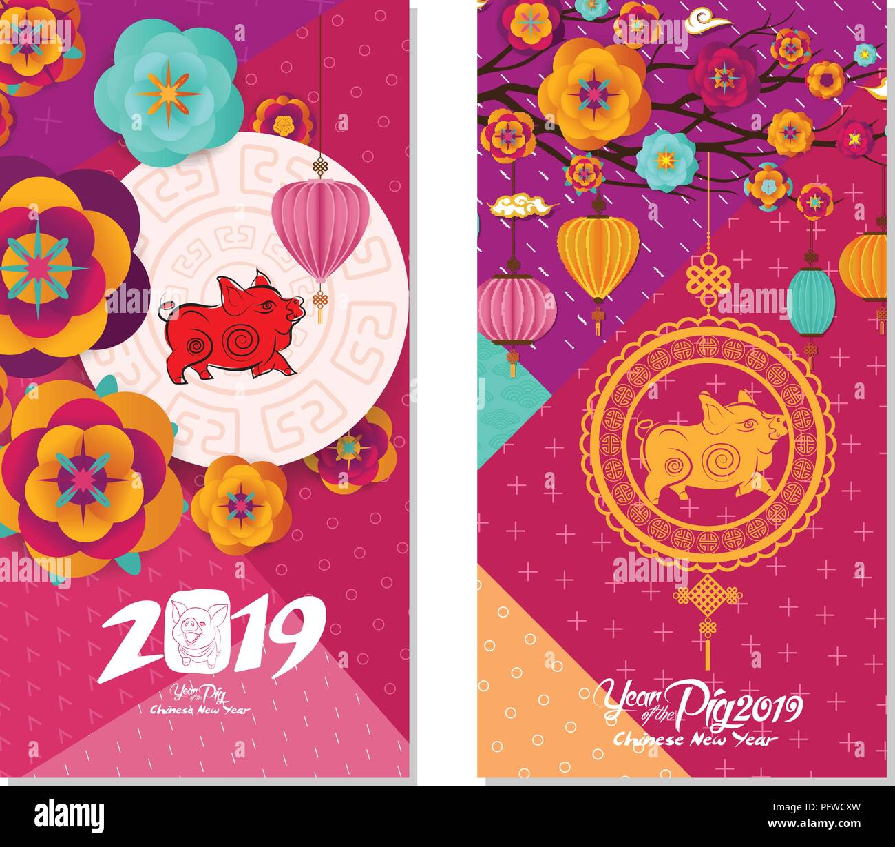 2019 chinese new year greeting card two sides poster flyer or invitation design with paper cut sakura flowers and pig