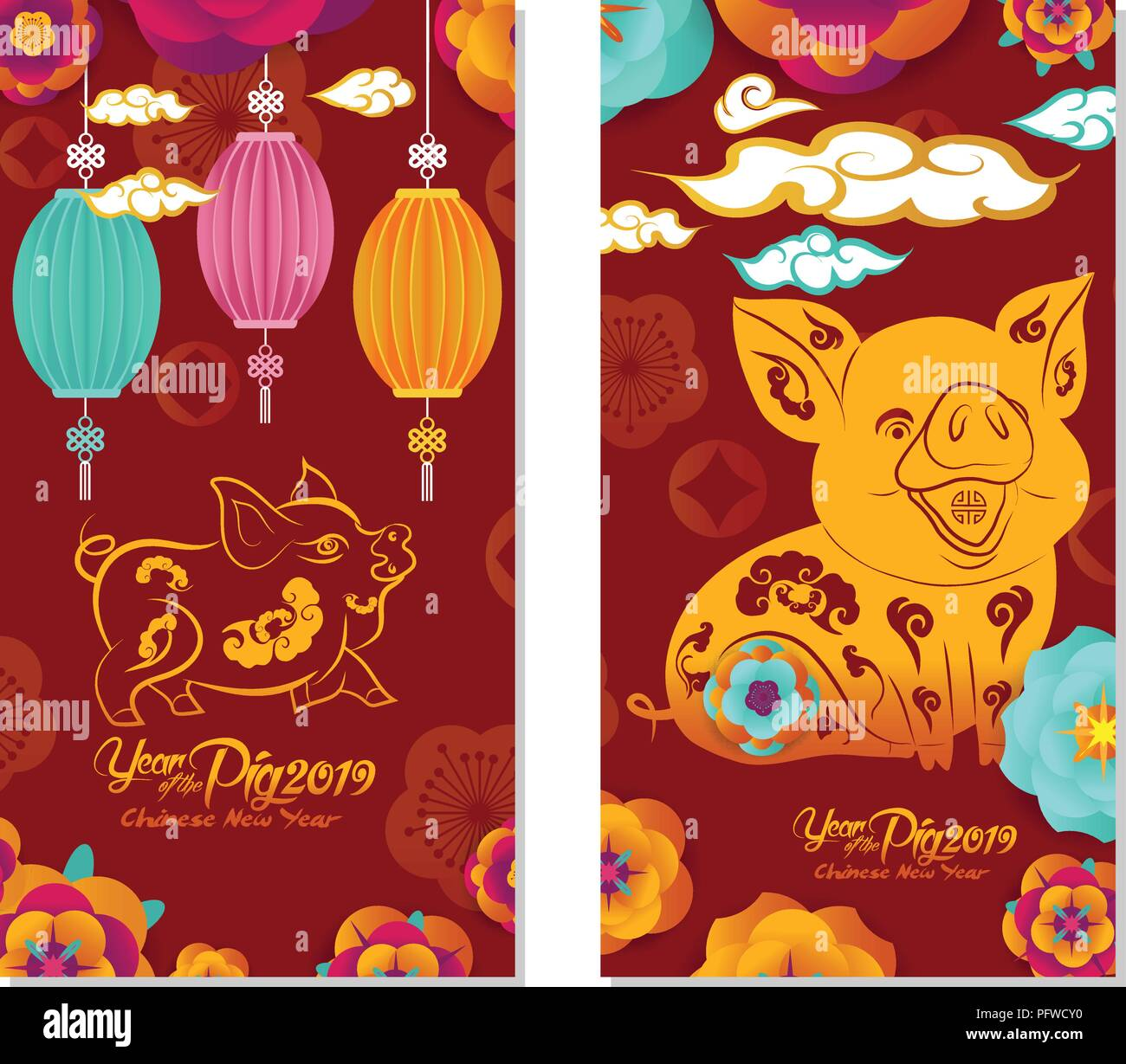 2019 Chinese New Year Greeting Card Two Sides Poster Flyer